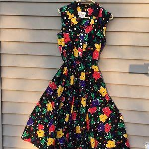 Vintage 50s bright floral sun dress 6